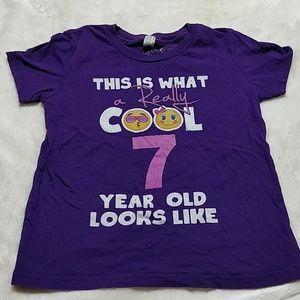 Birthday Emoji T-shirt Size 7 Purple